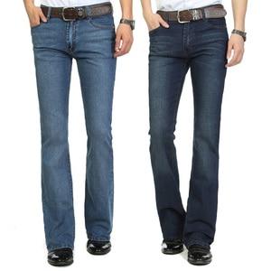 Image 2 - משלוח חינם זכר פעמון תחתון ג ינס מכנסיים slim שחור צופר אתחול לחתוך ג ינס בגדי גברים מזדמנים עסקים אבוקות מכנסיים 36