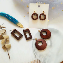 S925 Silver Needle Retro Wood Block Geometry Popular Wood Korea Temperament Net Red Simple Wood Earrings