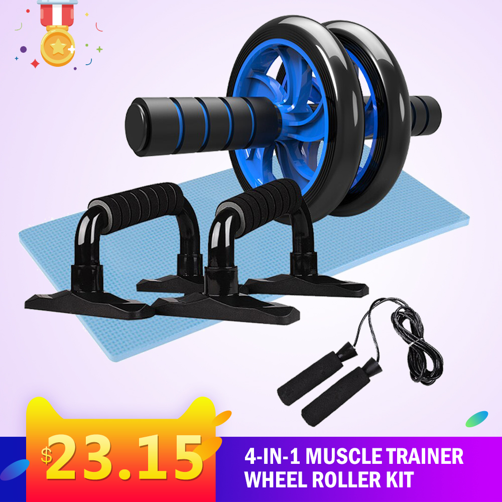 Gym Fitness Equipment Muscle Trainer Wheel Roller Kit Abdominal Roller Push Up Bar Jump Rope Workout Crossfit Sport Home Gym