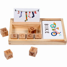 Wooden English Cardboard Blocks Enlightenment Early Learning Word Card Children Cognitive Wood Building Block Educational Toys word building workbook