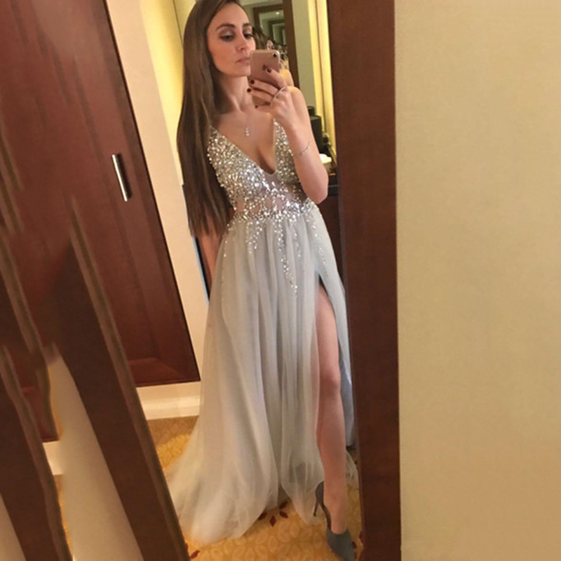 2019 Fashion V Neck Prom Dresses Sexy Side Split Sequins Beaded A Line Illusion Tulle Long Formal Evening Gown Bestidos De Gala