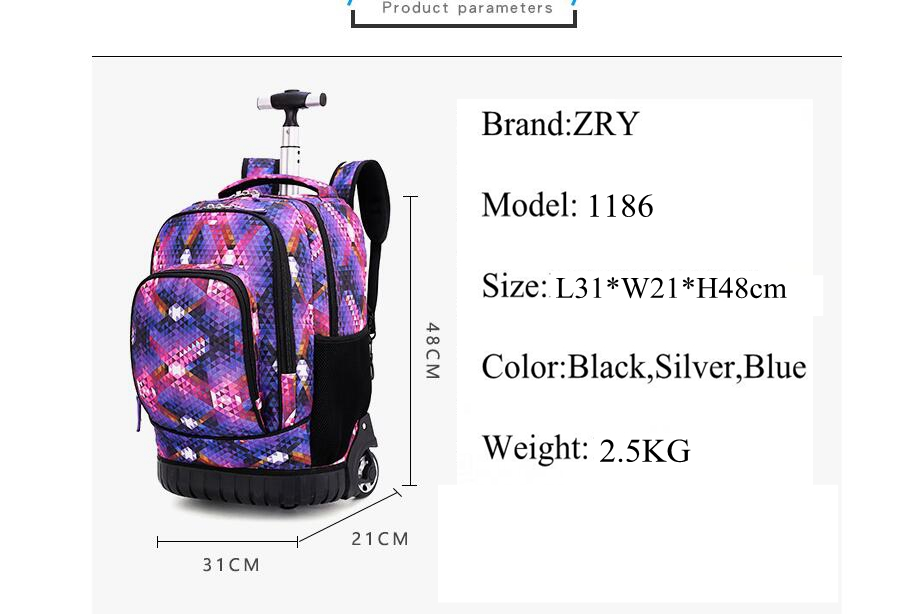Image 4 - 18 Inch Rolling Backpack Travel School Backpacks on Wheel Trolley SchoolBag for Teenagers Boys Children School Bag with Wheels-in School Bags from Luggage & Bags