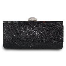 Clutches & Evening Bags Glitter Evening Party Clutch Bag Fashion Women Luxury purse Bags Black pochettes argente Wedding Wallet women black glitter beryl green crystal diamond evening box bag clutches purse metal hollow clutch ladies wedding party handbags