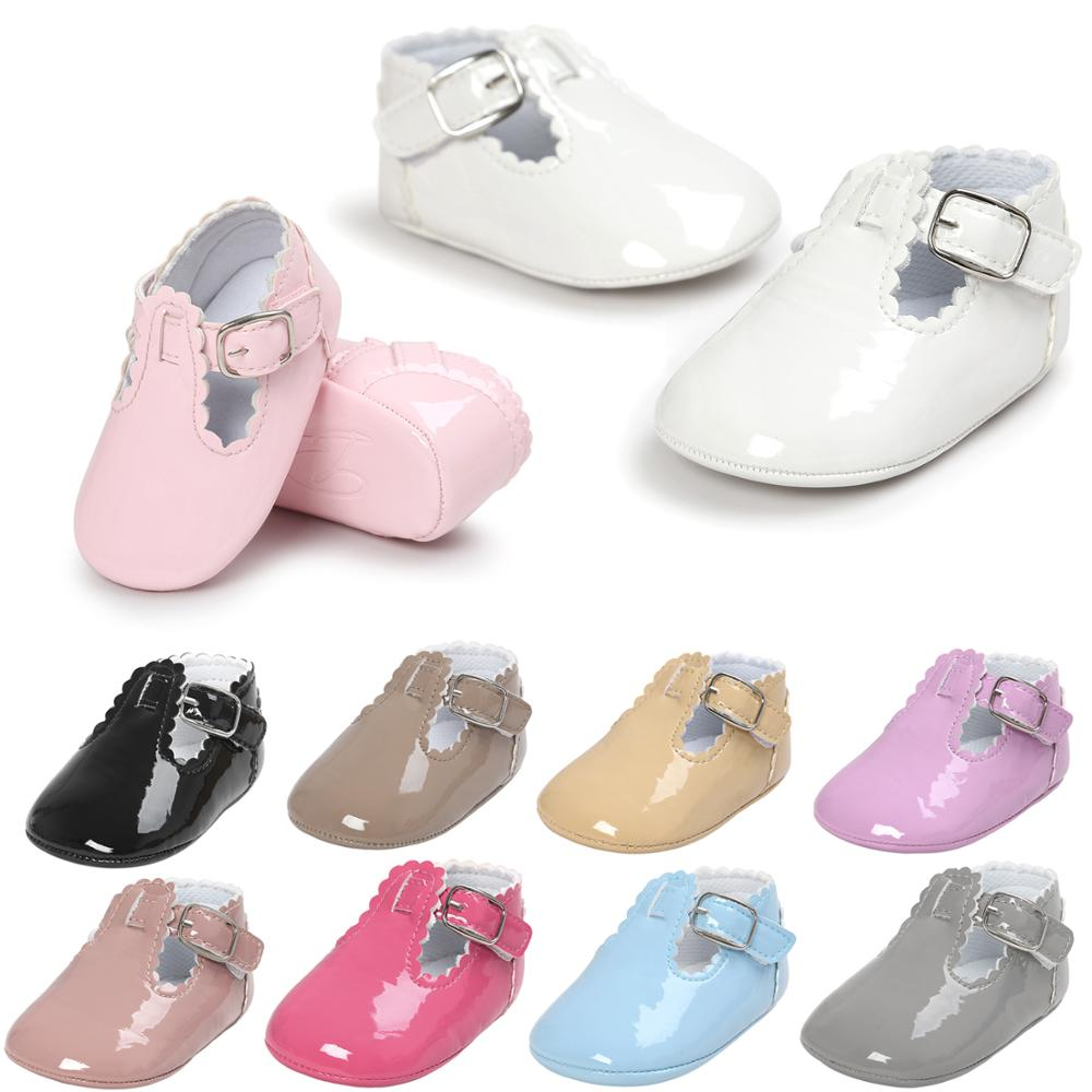 New Brand Patent Toddler First Walkers Pu Leather Baby Shoes Round Toe Flats Babe Ballet Dress Princess Soft Soled Shoes 2020