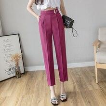 New 2020 Summer Purple Women's Formal Harem Pants Pockets Ro