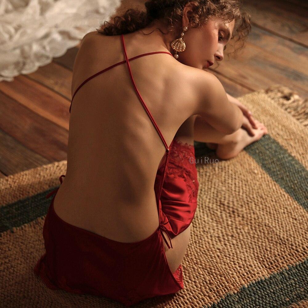 Neue Rot Sexy Nachthemd Frauen Zurück Kreuz Suspender Nacht Kleid Sehen Durch Spitze Nachtwäsche Seide Nachthemd Dropshipping