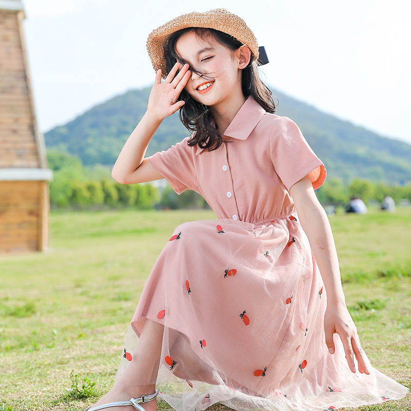 2020 Summer New Fashion Girls Casual Party Dress Elegant Toddlers Tutu Princess Vestidos Kids Mesh Sweet Dresses For Girls W255