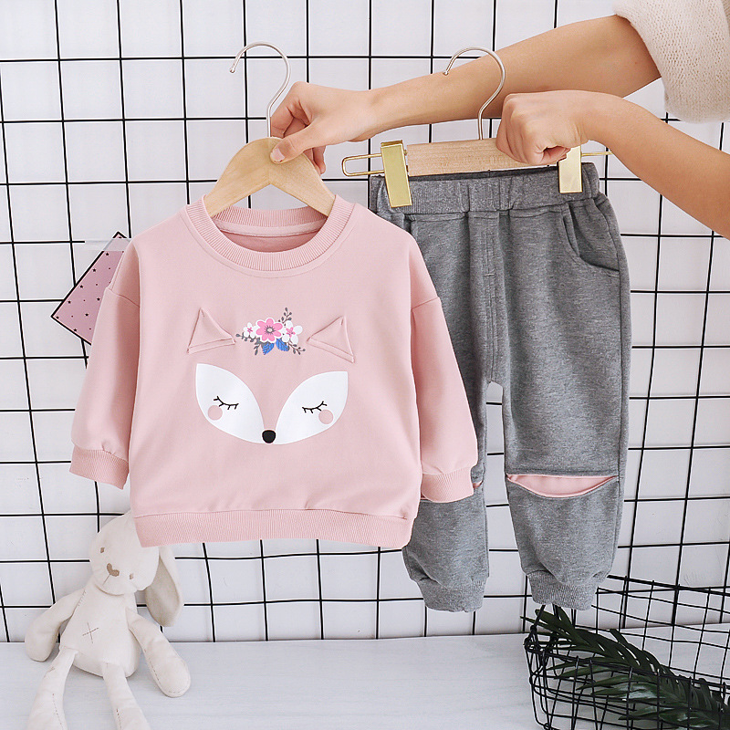 Baby Girls Long Sleeve Rabbit Ear Print Set Spring Fall Cotton Fashion Sport Suit Child Costume Outerwear For 1 2 3 4 5 Years