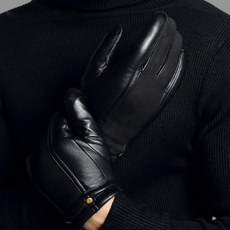 Image 3 - Genuien Leather Male Gloves Autumn Winter Thicken Warm Driving Sheepskin Gloves Man Black Casual Leather Gloves TU2801-in Men's Gloves from Apparel Accessories