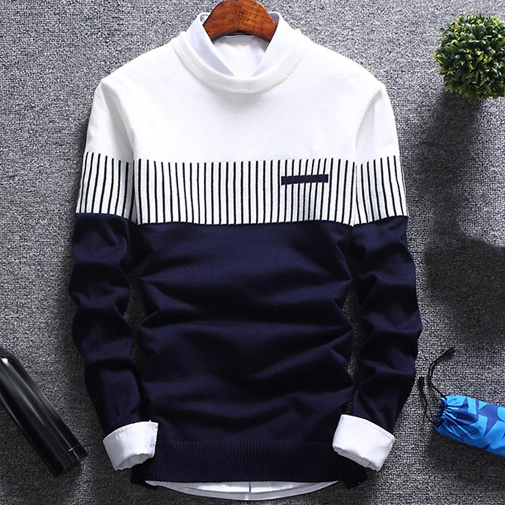 Fashion Men Striped Sweater Pullover Color Block Patchwork O Neck Long Sleeve Knitted Sweater Top Blouse For Warm Men's Clothing