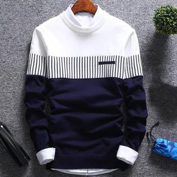 Fashion Men striped Sweater pullover Color Block Patchwork O Neck Long Sleeve Knitted Sweater Top Blouse For Warm Men's Clothing фото