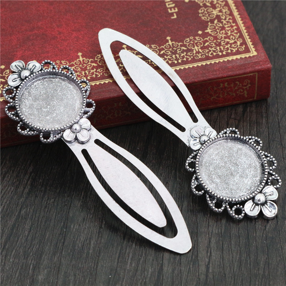 New Fashion 2pcs 20mm Inner Size Antique Silver Plated Simple Style Handmade Bookmark Cabochon Base  Cameo Setting (H1-12)