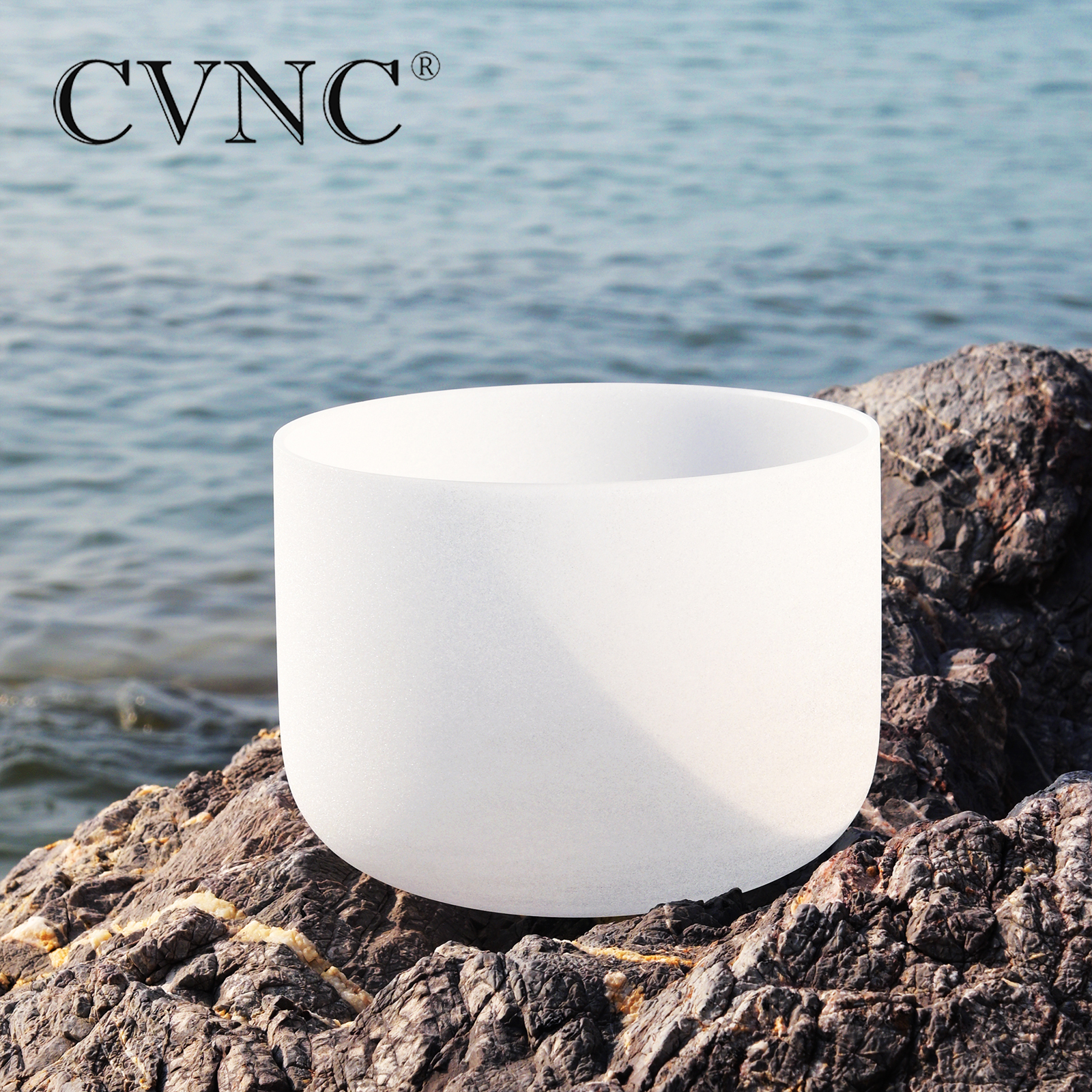 """CVNC 8inch Note C/D/E/F/G/A/B Chakra Frosted Quartz Crystal Singing Bowl 8"""" Meditation + Rubber Sticker Included"""