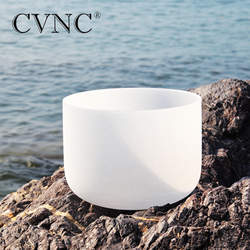 CVNC 8inch Note C/D/E/F/G/A/B Chakra Frosted Quartz Crystal Singing Bowl 8 Meditation + Rubber Sticker included