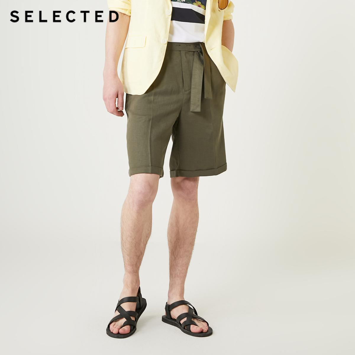 SELECTED Men's Summer Loose Fit Tencel Linen Casual Shorts S 4192SH548