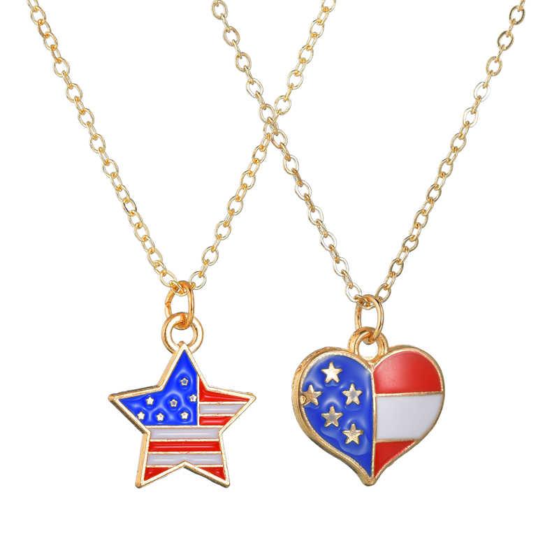 Na moda das Mulheres da Forma Do Coração Colar de Pingente Para Meninas Pentagrama Senhoras Presentes de Aniversário Colares Produtos do Projeto Da Bandeira Americana