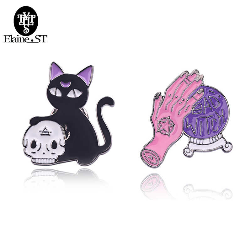 Sailor Moon Cat Bros Penyihir Tangan Magic Ball Tengkorak Kucing Bros Pin Gesper Denim Kerah Kemeja Kerah Pin Lencana Punk aksesoris