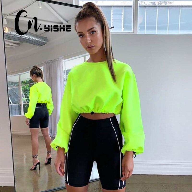 CNYISHE 2019 Neon Loose Sweatshirts Women Pullovers Fashion Solid Regular Long Sleeve Casual Sexy Short Women Sweatshirts Female