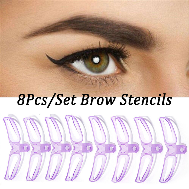 8Pcs/Set Drop Shipping Brow Stencils Reusable Eyebrow Shaping Defining Stencils Eye Brow Drawing Guide Template Makeup Tool