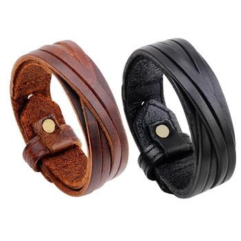 Мужские винтажные браслеты из кожи в стиле Панк