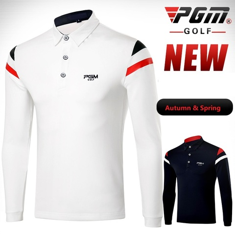 PGM 2019 Autumn Dry Fit Men Golf Shirts Long Sleeve Breathable Tshirts Turn Down Collar Golf Clothing Men Table Tennis Shirt Lahore