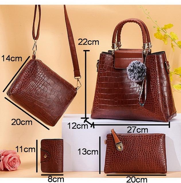 FUNMARDI 4PS Women Bags Set Luxury Crocodile Female Handbags PU Leather Shoulder Bags Brand Composite Bags Messenger WLHB2024