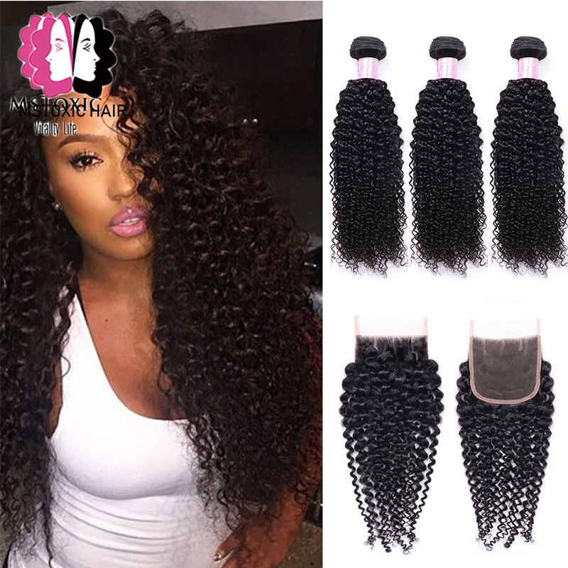 Mstoxic Afro Kinky Curly Bundles With Closure Remy Human Hair Bundles With Closure Brazilian Hair Weave Bundles With Closure
