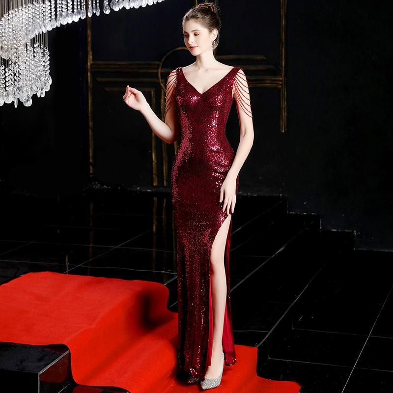 Burgundy Mermaid Evening Dress Sequin Evening Dresses Long Robe De Soiree Evening Gown Vestidos Elegantes Party Formal Dress