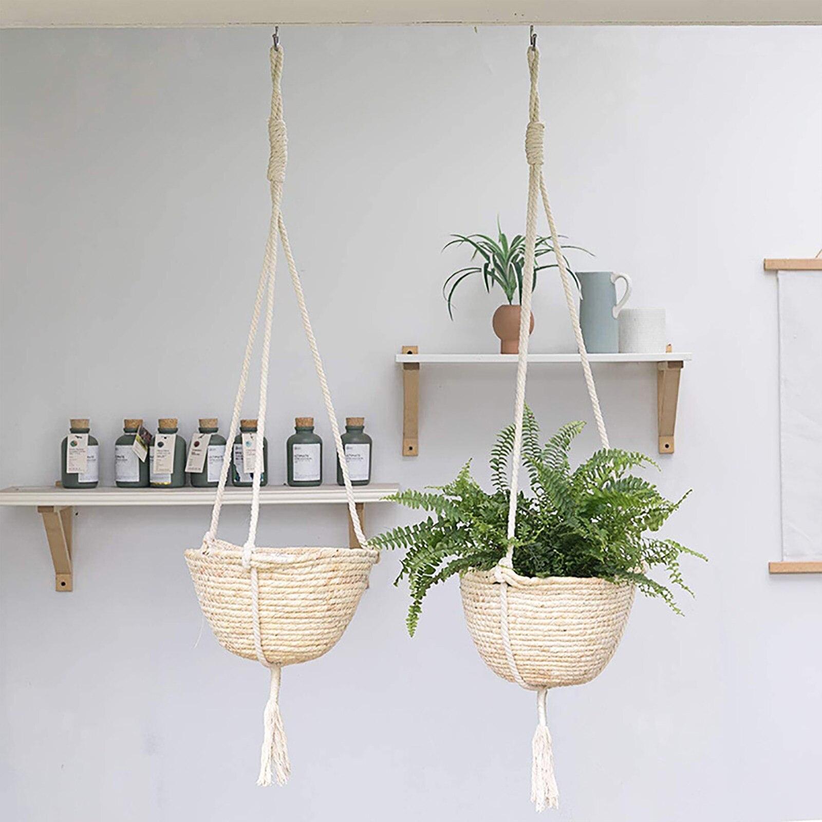Garden Plant Hangers Jute Rope Hanging Planter Woven Hanging Planter Storage Basket Home Decorative Flower Pot Holder