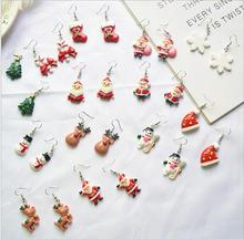 Santa Claus Snowman Christmas Tree Earrings New Year Gift 2020 Cartoon Wild Snowflake Cute Drop For Women