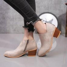 2019 New Winter Women High Heel Boots Shoes Square Toe Ankle