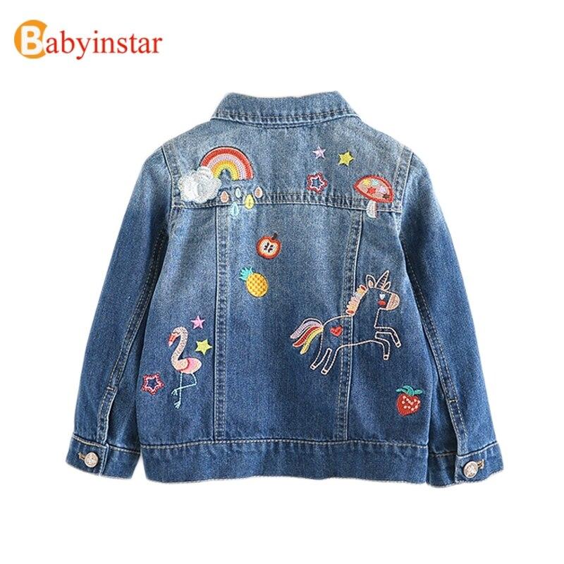 criancas denim jaquetas para meninas bordados flamingo casacos crianca criancas moda net fio de emenda casaco