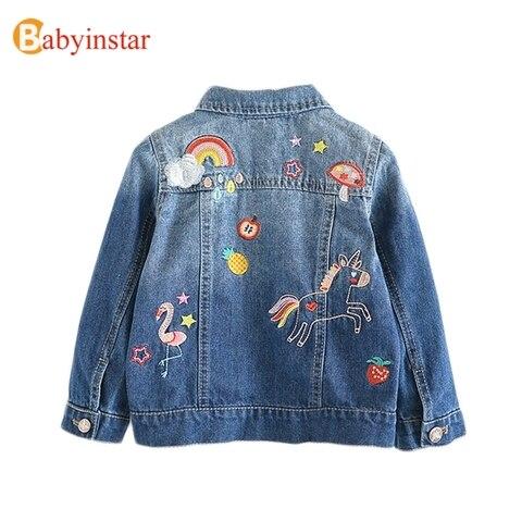 criancas denim jaquetas para meninas bordados flamingo casacos crianca criancas moda net fio de emenda