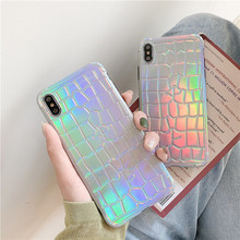 Crocodile pattern Laser phone Case for iphone X XR XS Max Case For iphone 6 6s 7 8 plus soft tpu case protective capa cover стоимость