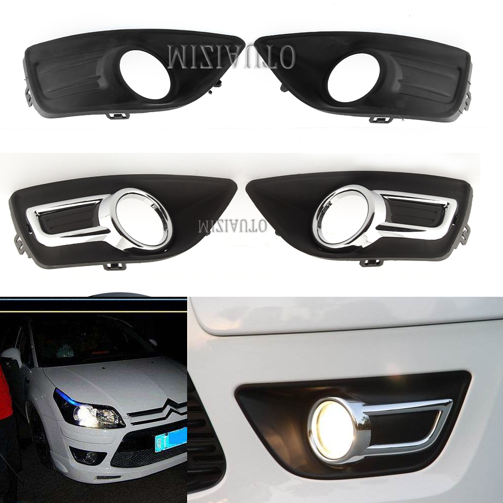 1pcs Chrome Front Bumper Fog Lamp Light Cover For Citroen C4 2008-2011 Front Fog Lamp Frame