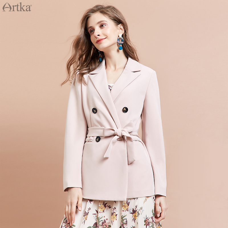 ARTKA 2019 Autumn New Women Blazer Fashion Double Breasted Jacket With Belt Loose Casual Women Blazers And Jackets WA15292Q