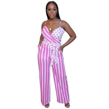 Adogirl Summer Fashion Women Jumpsuit Striped Dot Print Spaghetti Strap Jumpsuit Casual Loose Wide Leg One Piece Romper Outfits wide leg polka dot cami jumpsuit