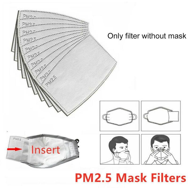 10pcs Activated Carbon Mask PM2.5 P2 Face Mask Efficient Filtration Anti Haze Mouth Masks Replaceable Filters