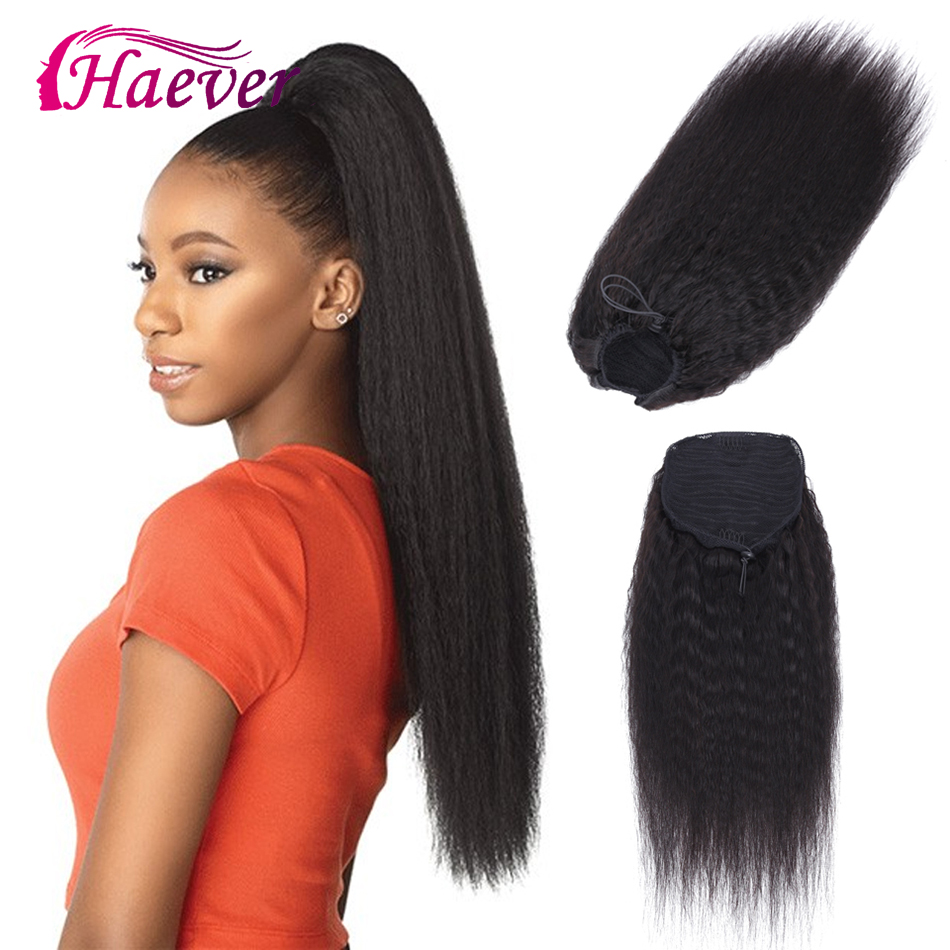 Haever Ponytail 1 Piece Natural Color Peruvian Kinky Yaki Straight Ponytail Human Hair Clip In Extensions Kinky Straight