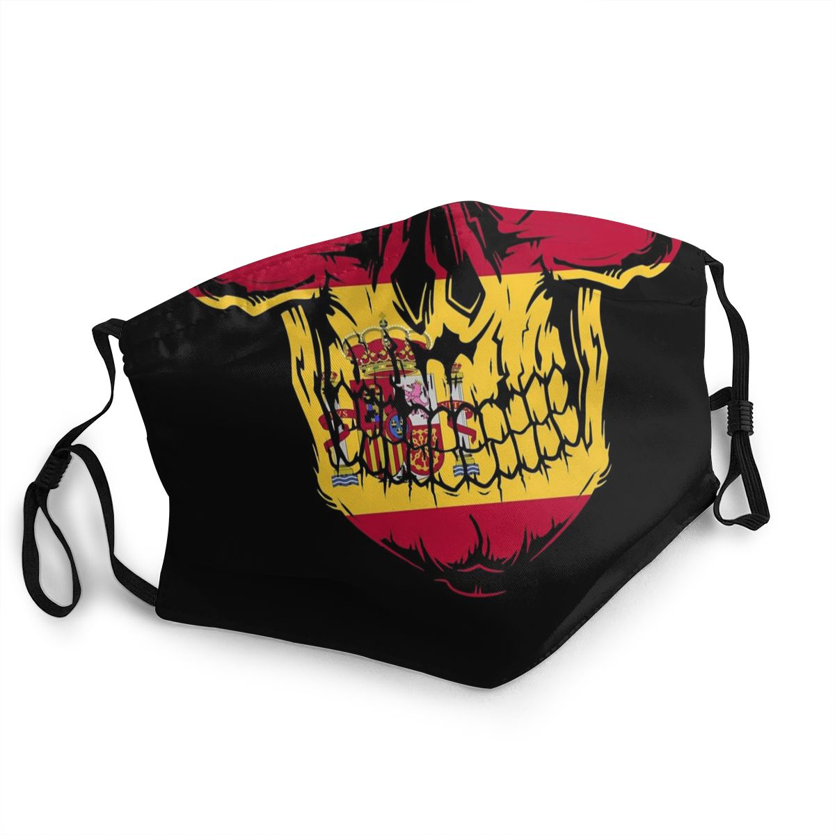 Spanish Spain Flag Skull Adult Non-Disposable Mouth Face Mask Anti Haze Dustproof Protection Cover Respirator