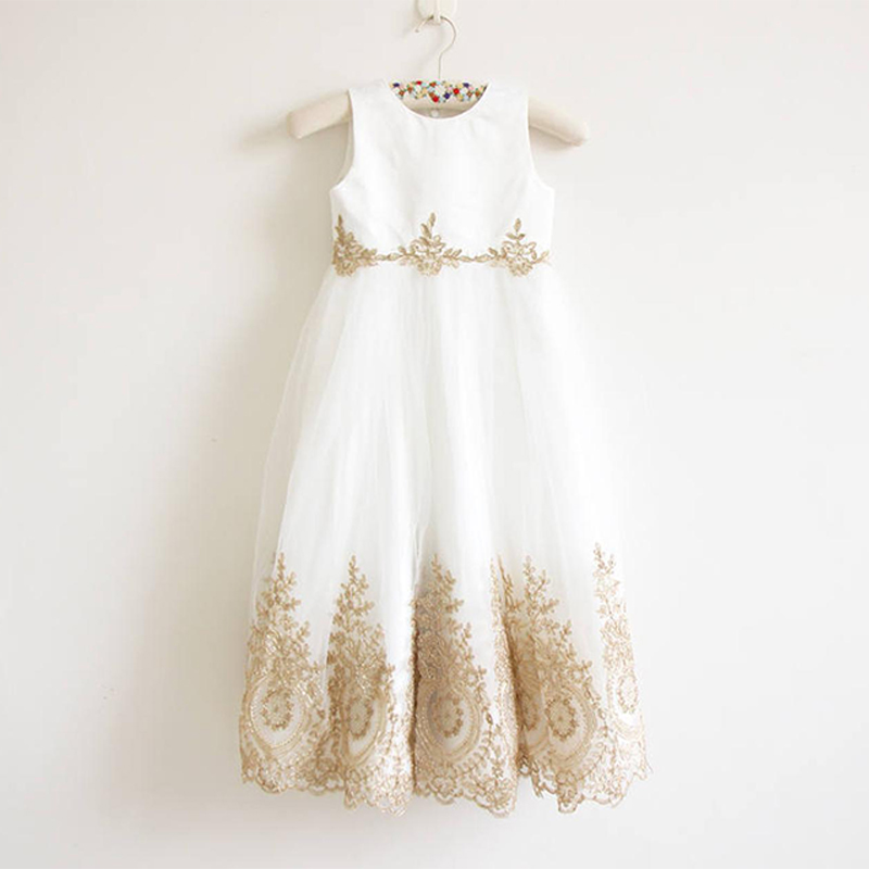 Little   Girls   Summer Party   Dress   Holiday Easter Robe Soiree Fillette White First Communion Gowns Gold Lace   Flower     Girl     Dresses
