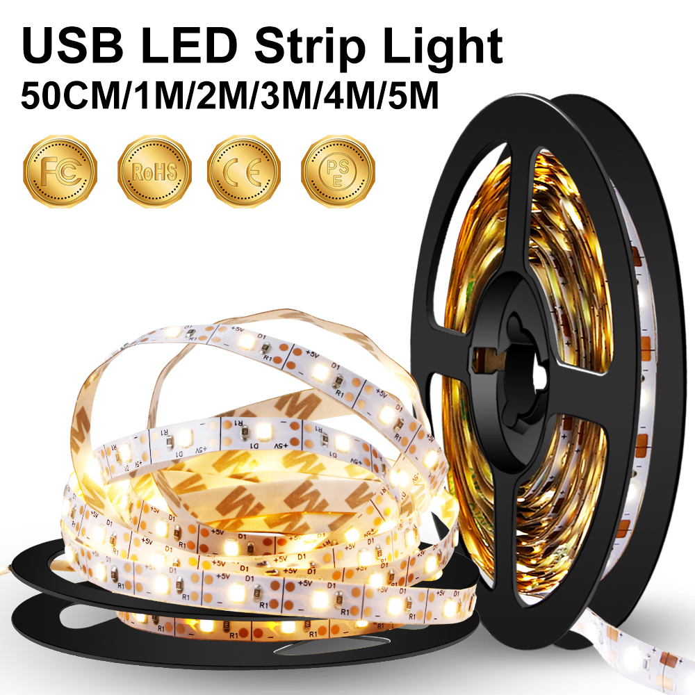 USB LED Strip Light 2835 SMD 5V Flexible TV LED Lamp Tape Ribbon 1M 2M 3M 4M 5M Led Warm White Backlight Stairs Bias Lighting