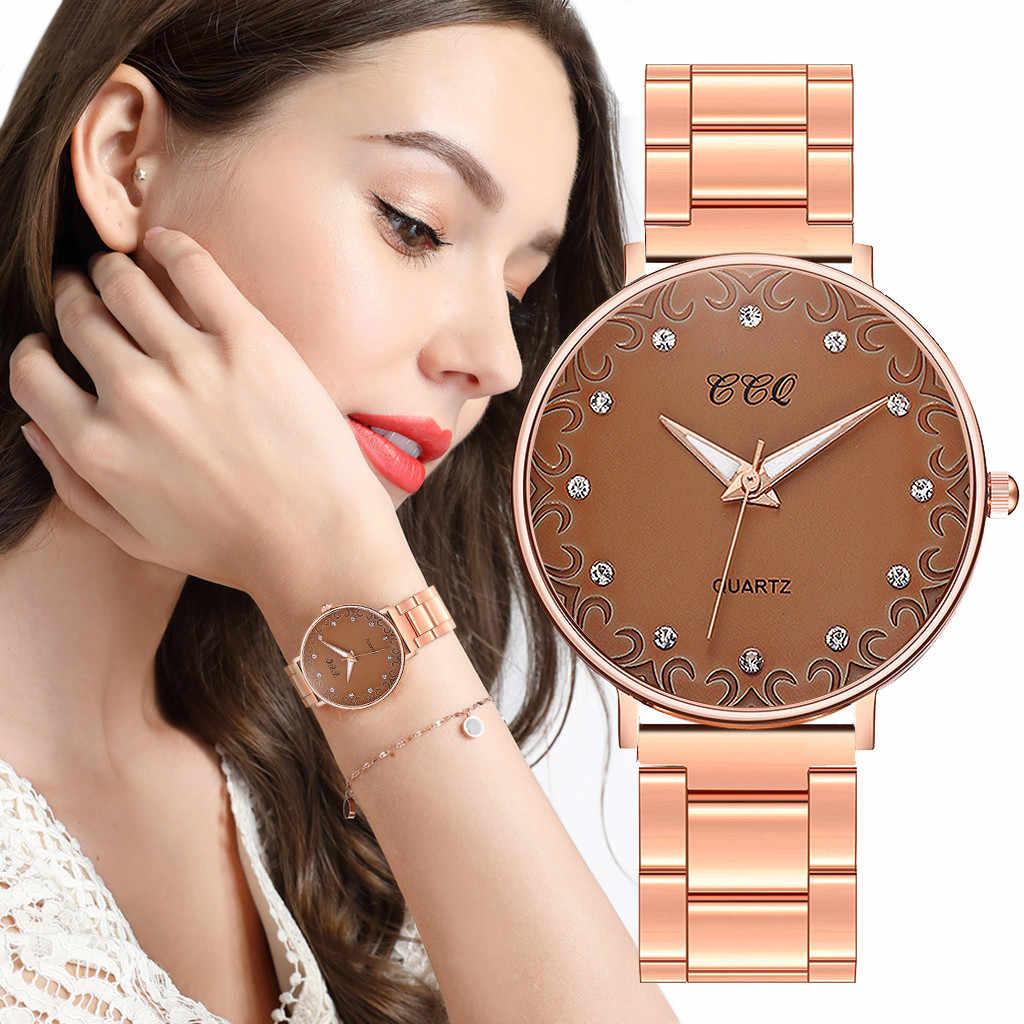 Wanita Jam Tangan 2019 Top Merek Mewah Pesona Bisnis Fashion Baja Reloj Mujer Zegarek Damski Relogio Femino