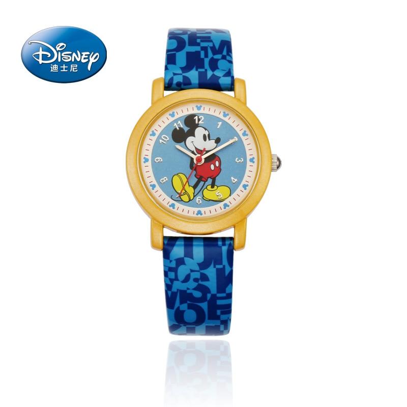 Disney Mickey Mouse Quartz  Wristwatch Boys And Girls Watch Kids Cartoon Pointer Quartz Student Watch Watches Boys 3Bar Leather