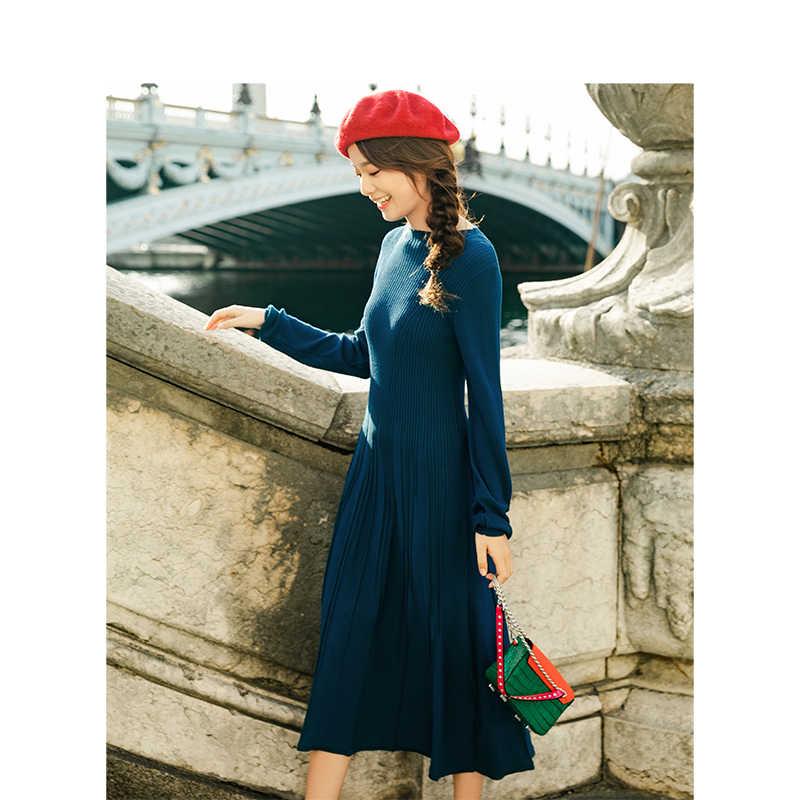 אינמן 2019 חדש הגעה O-אנק רטרו הונג קונג סגנון מוגדר מותניים Slim ארוך שרוול בסססט אונליין נשים ארוך שמלה