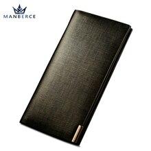 MANBERCE 2019 New Men Wallets Famous Brand Long Wallet Clutch Male Money Purse Wrist Strap Leather Wal Free Shipping