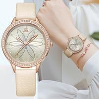 Mode frauen Uhren Diamant Luxus Beige Leder Analog Quarz Armbanduhr Damen Blume Zifferblatt Frauen Kleid Uhr Relogio Mujer