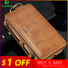 FLOVEME الفاخرة الرجعية محفظة الهاتف حالة ل فون 7 7 زائد XS ماكس XR حقيبة جلد حقيبة غطاء ل فون X 7 8 6s 5S حالة قذيفة