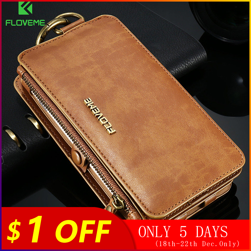 FLOVEME Luxury Retro Wallet Phone Case For iPhone 7 7 Plus XS MAX XR Leather Handbag