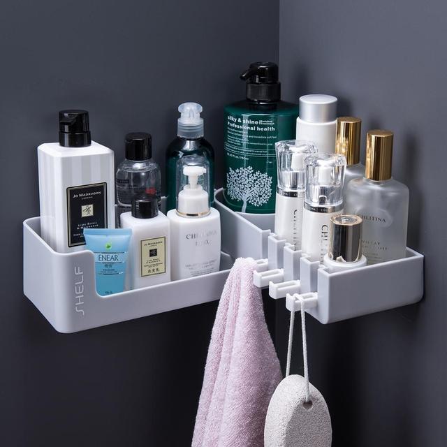 ห้องอาบน้ำฝักบัวชั้นวางRack 4 Hookติดผนังสำหรับแชมพูจัดระเบียบหมุนได้Self Adhesive Kitchen Storage